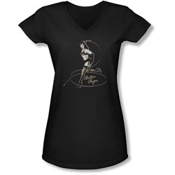 Bettie Page - Juniors Whip It! V-Neck T-Shirt