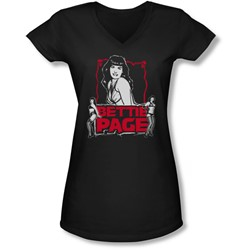 Bettie Page - Juniors Bettie Scary Hot V-Neck T-Shirt