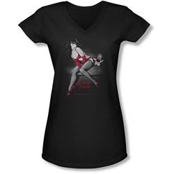 Bettie Page - Juniors Monkey Business V-Neck T-Shirt