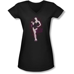 Bettie Page - Juniors Lacy V-Neck T-Shirt