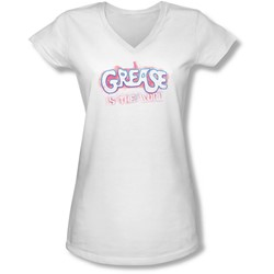 Grease - Juniors Grease Is The Word V-Neck T-Shirt