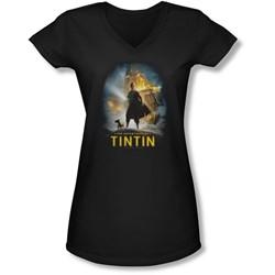 Tintin - Juniors Poster V-Neck T-Shirt