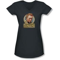 Tintin - Juniors Metal V-Neck T-Shirt