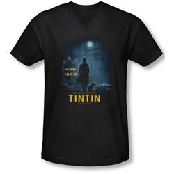 Tintin - Mens Title Poster V-Neck T-Shirt