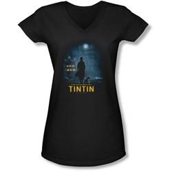 Tintin - Juniors Title Poster V-Neck T-Shirt