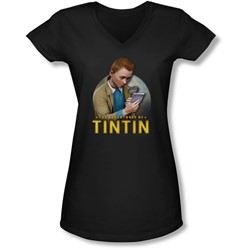 Tintin - Juniors Looking For Answers V-Neck T-Shirt