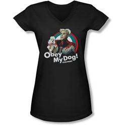 Zoolander - Juniors Obey My Dog V-Neck T-Shirt