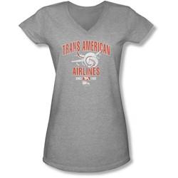 Airplane - Juniors Trans American V-Neck T-Shirt