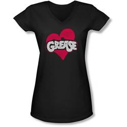 Grease - Juniors Heart V-Neck T-Shirt