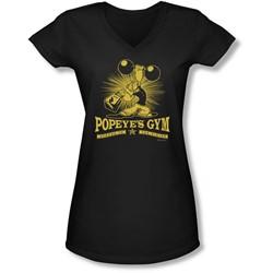Popeye - Juniors Popeyes Gym V-Neck T-Shirt