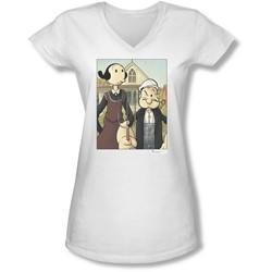 Popeye - Juniors Popeye Gothic V-Neck T-Shirt