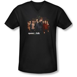 Queer As Folk - Mens Title V-Neck T-Shirt