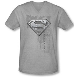 Superman - Mens Riveted Metal V-Neck T-Shirt