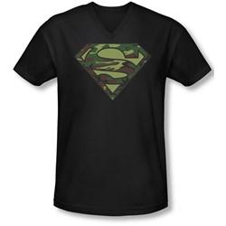 Superman - Mens Camo Logo V-Neck T-Shirt