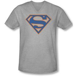 Superman - Mens Blue & Orange Shield V-Neck T-Shirt