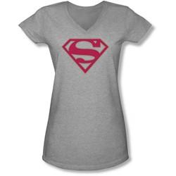 Superman - Juniors Crimson & Gray Shield V-Neck T-Shirt