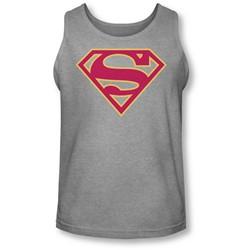 Superman - Mens Red & Gold Shield Tank-Top