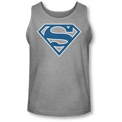 Superman - Mens Blue & White Shield Tank-Top