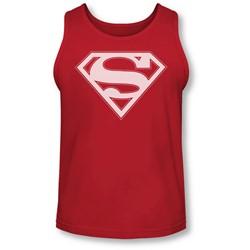 Superman - Mens Red & White Shield Tank-Top