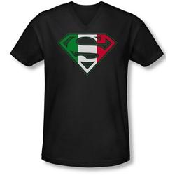 Superman - Mens Italian Shield V-Neck T-Shirt