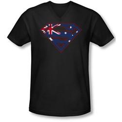 Superman - Mens Australian Shield V-Neck T-Shirt