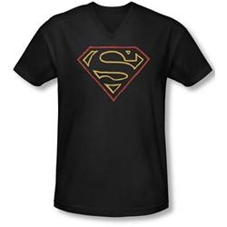 Superman - Mens Colored Shield V-Neck T-Shirt