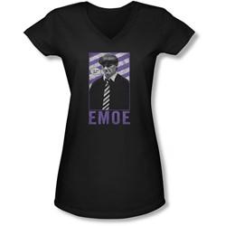 Three Stooges - Juniors Emoe V-Neck T-Shirt