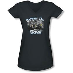 Three Stooges - Juniors Bottoms Us V-Neck T-Shirt