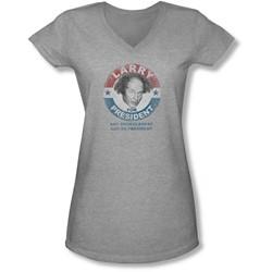Three Stooges - Juniors Larry For President V-Neck T-Shirt