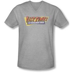 Fast Times Ridgemont High - Mens Distressed Logo V-Neck T-Shirt