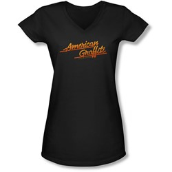 American Grafitti - Juniors Neon Logo V-Neck T-Shirt