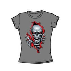 Lethal Threat - Ripper Skull - Juniors Charcoal S/S T-Shirt For Women