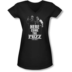Hot Fuzz - Juniors Here Come The Fuzz V-Neck T-Shirt