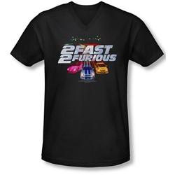 2 Fast 2 Furious - Mens Logo V-Neck T-Shirt