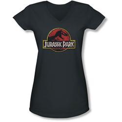 Jurassic Park - Juniors Stone Logo V-Neck T-Shirt