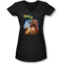 Back To The Future Iii - Juniors Poster V-Neck T-Shirt