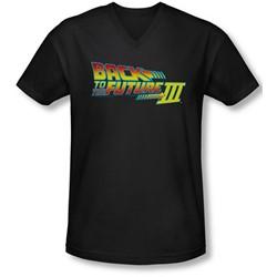 Back To The Future Iii - Mens Logo V-Neck T-Shirt