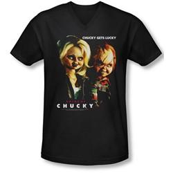 Bride Of Chucky - Mens Chucky Gets Lucky V-Neck T-Shirt