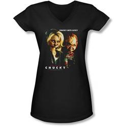 Bride Of Chucky - Juniors Chucky Gets Lucky V-Neck T-Shirt