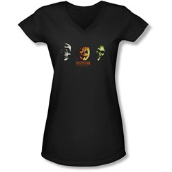 Halloween Iii - Juniors Three Masks V-Neck T-Shirt