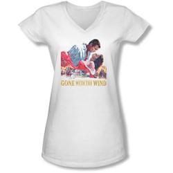 Gwtw - Juniors On Fire V-Neck T-Shirt