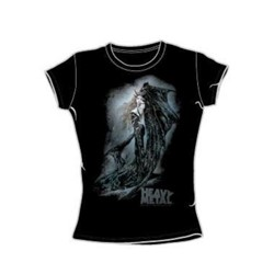 Heavy Metal - The Face Of The Lioness - Juniors Black S/S T-Shirt For Women