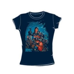 Heavy Metal - Joan Of Arc - Juniors Navy S/S T-Shirt For Women