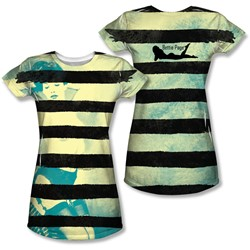 Bettie Page - Juniors Black Stripes T-Shirt