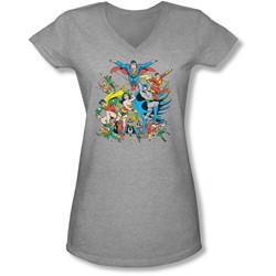 Dc - Juniors Justice League Assemble V-Neck T-Shirt