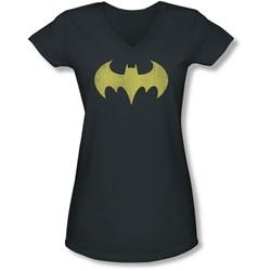 Dc - Juniors Batgirl Logo Distressed V-Neck T-Shirt