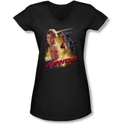 Airwolf - Juniors Airwolf V-Neck T-Shirt