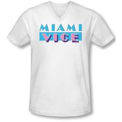 Miami Vice - Mens Logo V-Neck T-Shirt