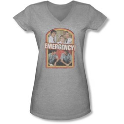 Emergency - Juniors Retro Cast V-Neck T-Shirt