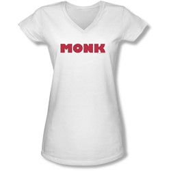Monk - Juniors Logo V-Neck T-Shirt